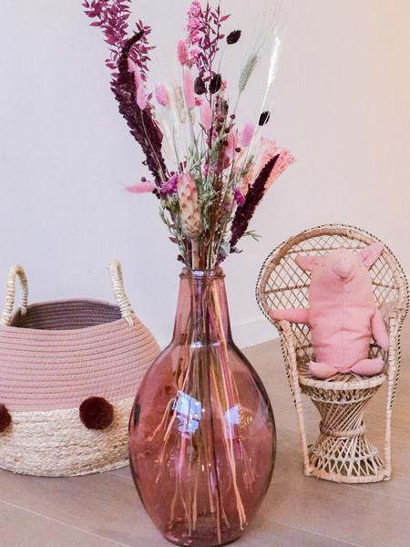 """Afbeeldingen van Dame Jeanne vaas """"roze"""" met droogboeket"""